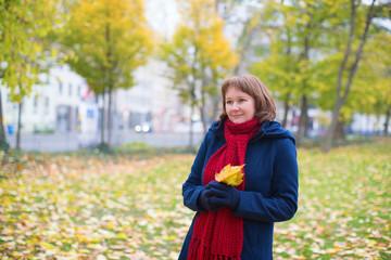 Girl walking in a park