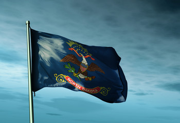 North Dakota (USA) flag waving on the wind