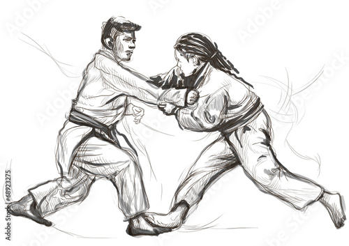 Papiers peints Combat Judo - an full sized hand drawn illustration