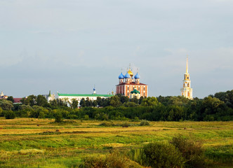 Summer landscape with orthodox cathedral