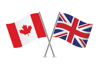 British and Canadian flags. Vector illustration.