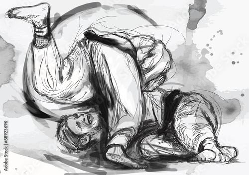 Fototapeta Judo - hand drawn illustration converted into vector