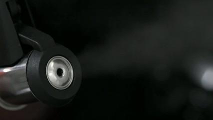 Steaming tea kettle - closeup