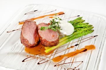 Steak with egg pashot