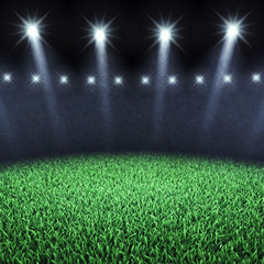 Sports arena spotlights and turf , Stadium grass