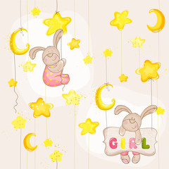 Baby Bunny Seamless Pattern - for background, design, card