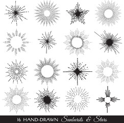 Sunbursts and Stars - hand-drawn illustration