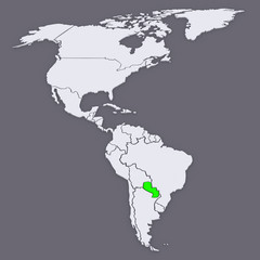 Map of worlds. Paraguay.