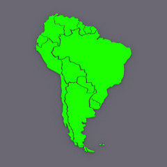 Map of worlds. South America.