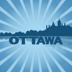 Ottawa skyline reflected with blue sunburst illustration