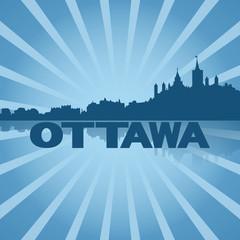Ottawa skyline reflected with blue sunburst illustration