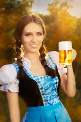 Young Bavarian Woman Holding Beer Tankard