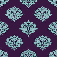 Turquoise colored floral seamless pattern