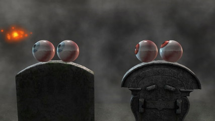Halloween Eyes in a Graveyard