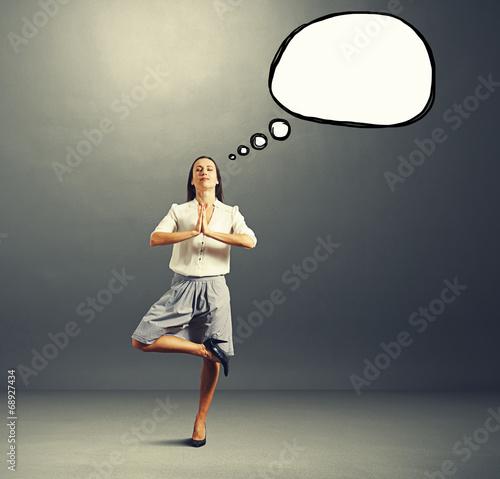 yoga businesswoman with speech balloon
