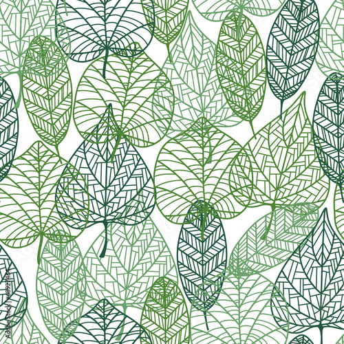 Green leaves seamless pattern - 68927464