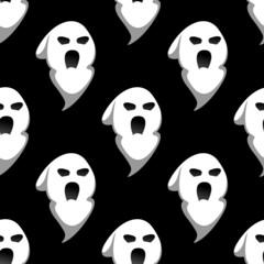 Night ghost halloween seamless pattern