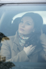 Woman car passenger seat