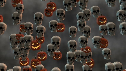 Looping Smiling Halloween Jack-o'-Lanterns and Skulls Morph