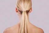 Perfect ponytail, with long blonde hair