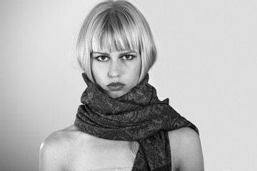 Young woman with scarf, black & white portrait
