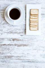 Coffee with crackers.