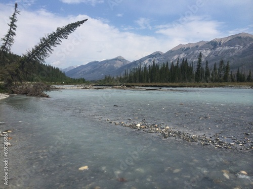 canvas print picture rocky mountains on a river