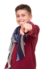 Boy pointing front