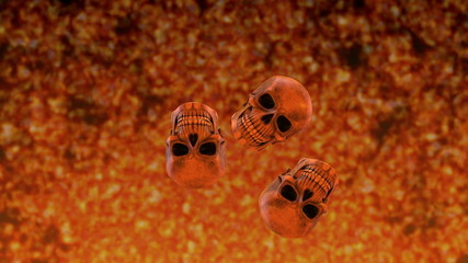 Bouncing Skulls with Background Inferno