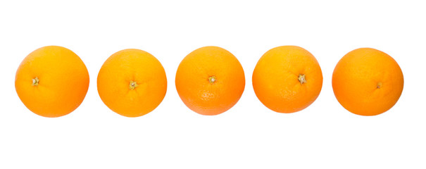 Orange fruits over white background