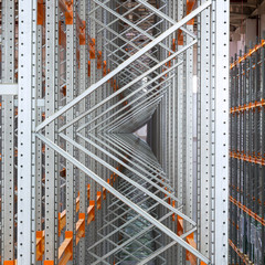 Metal channel section in a storage room