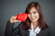 canvas print picture - Close up Asian businesswoman happy and smile  with red heart