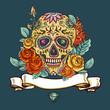 Obrazy na płótnie, fototapety, zdjęcia, fotoobrazy drukowane : Skull and Flowers Day of The Dead
