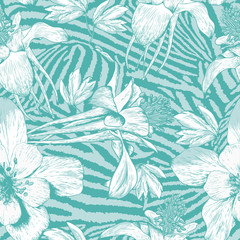 Monochrome seamless vintage flower pattern