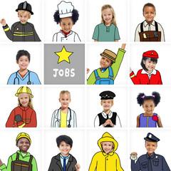 Multiethnic Children with Various Jobs Concepts