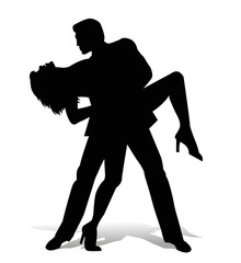 silhouette di ballerini di latino americano