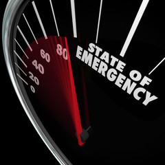State of Emergency Speedometer Words Fast Approaching Crisis