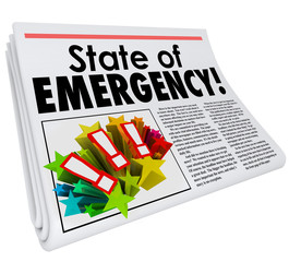 State of Emergency Newspaper Headline Top Story Big Crisis