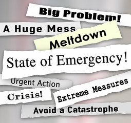 State of Emergency Newspaper Ripped Torn Headlines Urgent Action