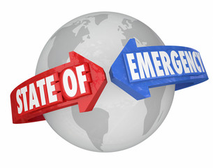 State of Emergency Arrows Around World International Global Cris