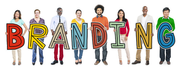 Group of Diverse People Holding Branding