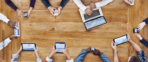 Business People Working with Technology - 68929807