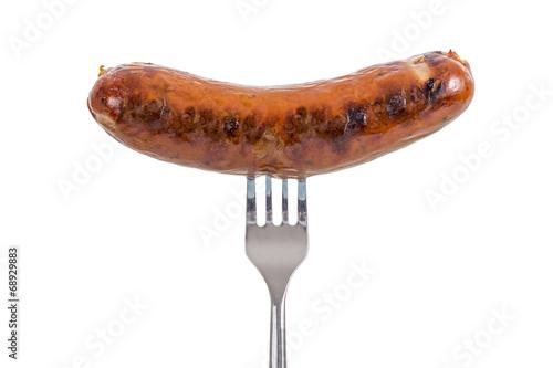 Leinwanddruck Bild Sausage on a Fork