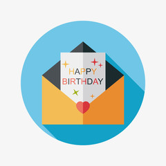 Happy birthday card flat icon with long shadow,eps10
