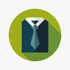 business shirt and tie flat icon with long shadow,eps10
