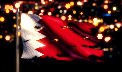 Bahrain National Flag Torn Burned War Freedom Night 3D