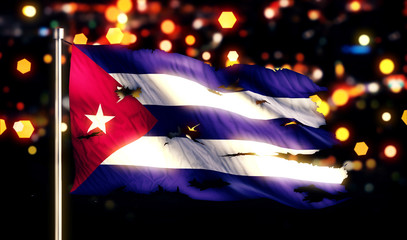 Cuba National Flag Torn Burned War Freedom Night 3D