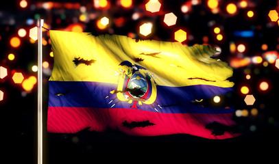 Ecuador National Flag Torn Burned War Freedom Night 3D