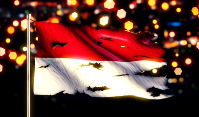 Indonesia Monaco National Flag Torn Burned War Freedom Night 3D