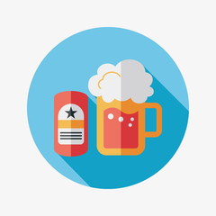 beer flat icon with long shadow,eps10